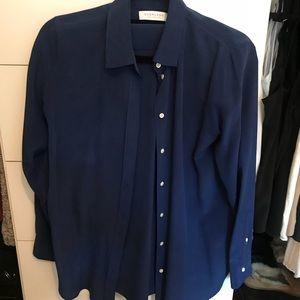Everlane blue silk buttondown